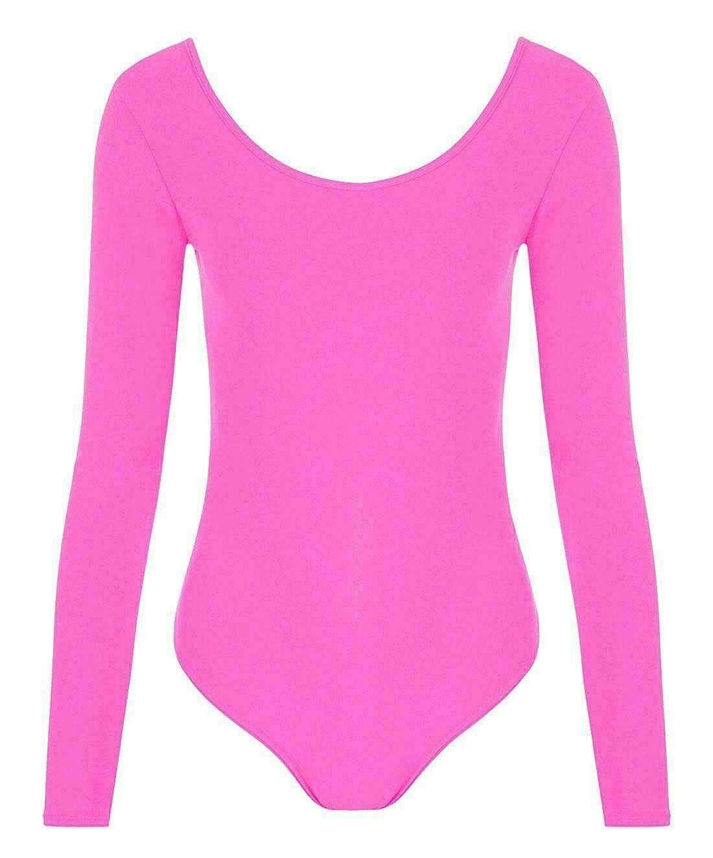 Islander Fashions Girls Dance Wear Body con Maniche Lunghe Girocollo Maniche Lunghe per Bambini Body of 6