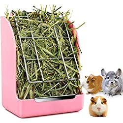 STKYGOOD Rabbit Feeder Bunny Guinea Pig Hay Feeder,Hay Guinea Pig Hay Feeder,Chinchilla Plastic Food Bowl (Pink-A)