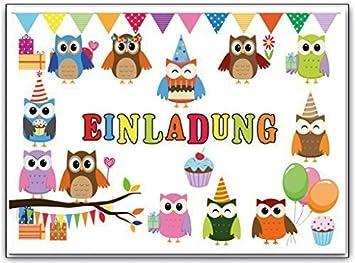 Eulen Kindergeburtstag Geburtstagseinladung Einladung Einladungskarten  Party Feier Kinder Geburtstag 10 Stück