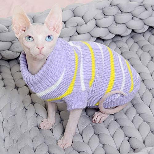 Bonaweite Hairless Cats Stripe Vest Turtleneck Sweater, Breathable Adorable Cat Wear Shirt Clothes, Cat's Pajamas Jumpsuit for Sphynx, Cornish Rex, Devon Rex, Peterbald 21