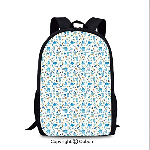 Laptop Computer Backpack, Its a Boy Stork Carrying a Baby Elephants Clothes, School Bag :Suitable for Men and Women, School, Travel, Daily use, etc.Blue Amber Black