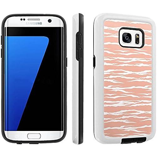 [Galaxy S7] [5.1 Screen] Armor Case [Skinguardz] [White/Black] Shock Absorbent Hybrid - [Coral Orange Zebra] for Samsung Galaxy S7 / GS7 Sales
