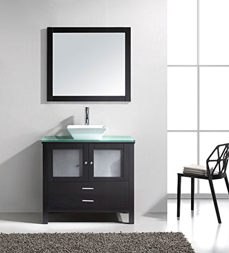 Samantha- 36 inch Modern Espresso Bathroom Vanity with Glass Top & Vessel Sink