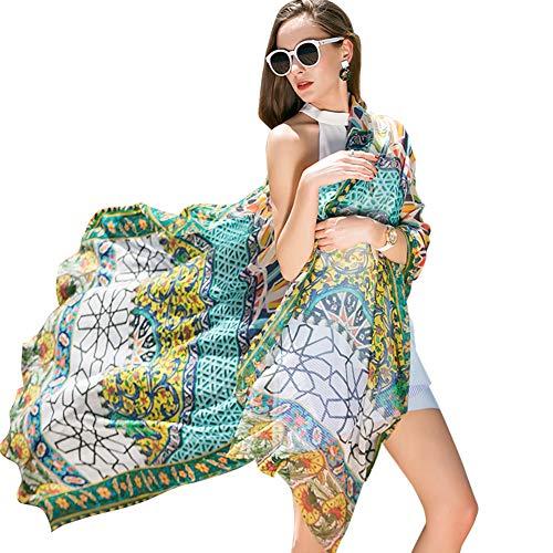 New Shawl Scarf Silk (DANA XU 100% Pure Silk Large Size Pashmina Shawls and Wraps Women Scarf (Deep Green))