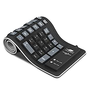Sungwoo Foldable Silicone Keyboard USB Wired Waterproof Rollup Keyboard for PC Notebook Laptop (Black)