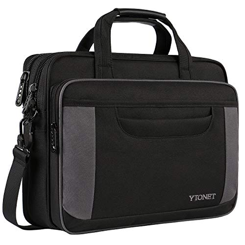 (Ytonet Laptop Bag, 15 Inch Laptop Briefcase, Water Resistant Nylon Laptop Bag for Women Men Business Travel Office School College with Shoulder Strap Fits up to 15.6 Inch Laptop Tablet-Black and Grey)