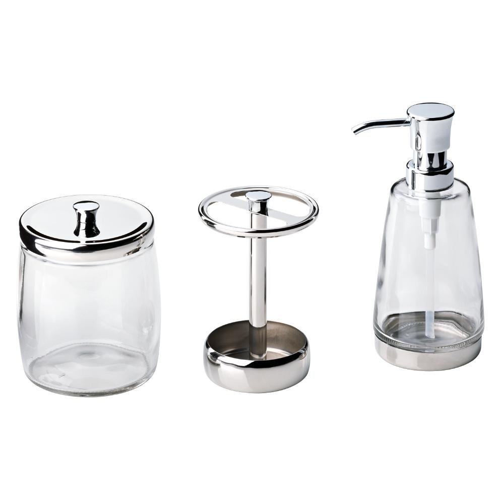 Amazon.com: Delta 3-Piece Bathroom Countertop Accessory Kit in Polished Chrome, Soap Glass Dispenser, Toothbrush Holder, Glass Apothecary Jar: Home & ...