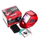 Weldflame WH9000 Outeasy External Adjustment Knob Solar Power Auto-Darkening Welding Helmet (Red)