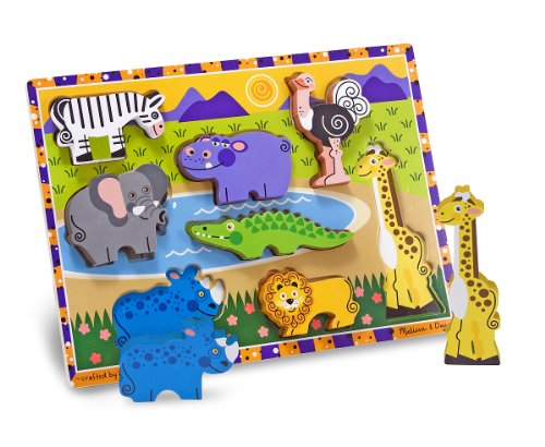 [Melissa & Doug Safari Wooden Chunky Puzzle (8 pcs)] (8 People Costumes)