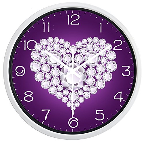 rame Purple Heart-Shaped Diamond Picture Quartz Silent Non Ticking Glass Decorative Wall Clock ()