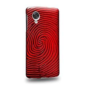 Case88 Premium Designs Art Strong Red Finger Print Maze Carcasa/Funda dura para el LG Nexus 5