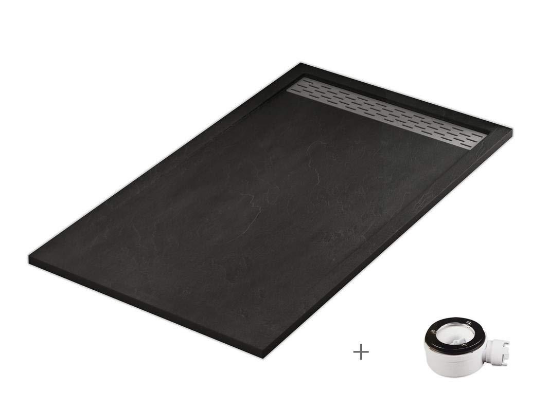 Plato ducha resina antideslizante textura pizarra Lane Bricodomo 70x140 Gris