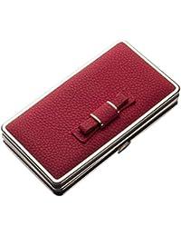 Ladies Large Leather Long Bifold Wallet Bowknot Wristlet Clutch Handbag Lichee Pattern Mobile Phone Hard Case Purse Card Holder Organizer