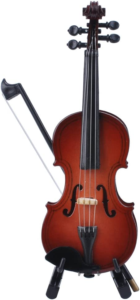 Dettagli su Violino in miniatura con supporto legno, archetto e custodia, mini Red