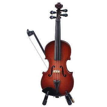 Arco de violín en miniatura con soporte de madera, mini guitarra eléctrica con funda y Mini Musical Instrument miniatura casa de muñecas modelo Decoración ...