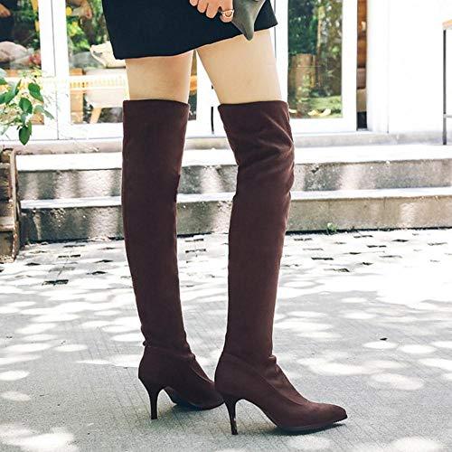 Cuissardes Femmes À Taoffen Hauts Bottes Talons Boots Marron qFwSOxWSX5