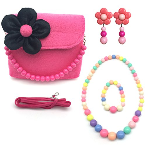 Elesa Miracle Little Girl Bag Beauty Set Plush Handbag + Flower-Shaped Clip-on Earrings + Necklace and Bracelet Set (Hot Pink)