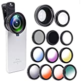 12 in 1 Camera Lens Kit, 0.45X Super Wide Angle Lens + 12.5X Macro Lens +Star/CPL/ND8/ 7 Color fliter iPhone 8, 7, 6s, 6, 5s & Samsung & Smartphones