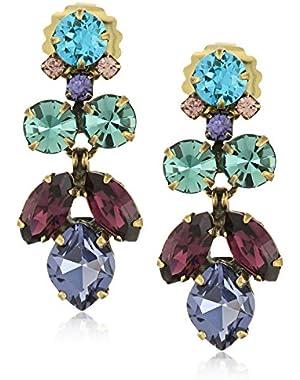 Petite Crystal Lotus Flower Drop Earrings