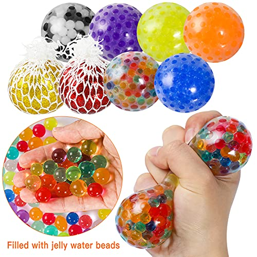 Max Fun 12 Pack Stress Ball Water Beads Sensory Fidget Toys - Mesh Ball Fidget Stress Balls for Adults Kids Stress Relief Gifts ADHD Squeezing Ball Improve Focus