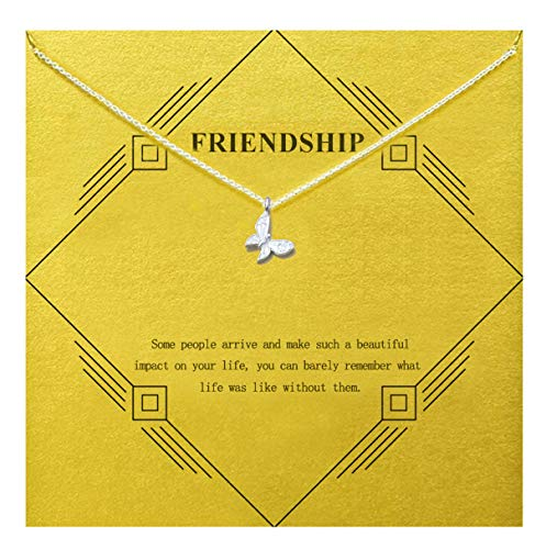 Gray Camel Friendship Clover Necklace Unicorn Good Luck Elephant Necklace with Message Card Gift Card for Women Girl (Sliver Butterfly) ()