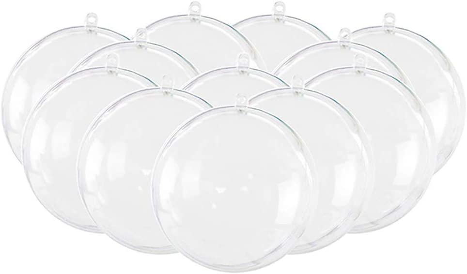 ChezMax 12 Pack DIY Clear Plastic Fillable Ornament Ball 3 Different Sizes Transparent Bath Bomb Mold Set for Christmas Wedding Party Home Decor 2.4 Inches