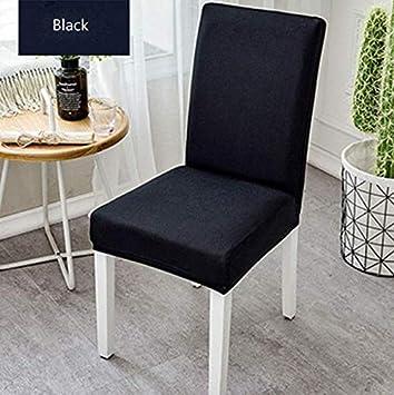 BINGNENG Fundas para sillas Pack de 4 Fundas sillas Comedor Fundas elásticas, Cubiertas para sillas (Nero)