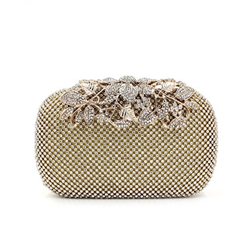 Gold Clutch Purses Classy Flower for Women Luxury Rhinestone Crystal Evening Clutch Bags Vintage Party (gold)