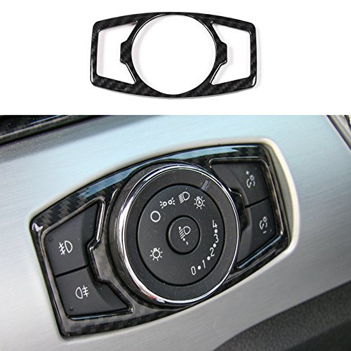 Carbon Fiber Grain Car Head Light Lamp Switch Button Control Cover Trim Frame Sticker For Ford Mustang/F150 2015 2016 2017