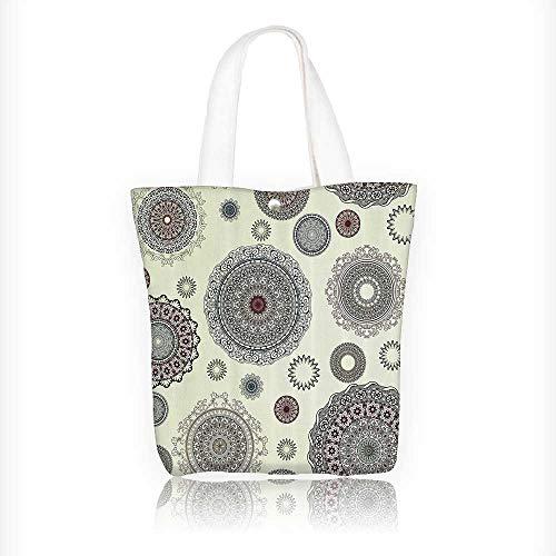 Ladies canvas tote bag Ornate Round Motifs Forms Oriental Nostalgic Islamic Style Old World in Retro reusable shopping bag zipper handbag Print Design W16.5xH14xD7 INCH by Jiahonghome