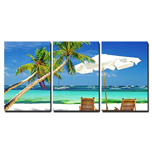 Tropical Holidays Vacation at The Beach with Palm Trees x3 Panels