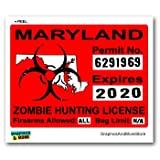 Maryland MD Zombie Hunting License Permit Red - Biohazard Response Team - Window Bumper Locker Sticker