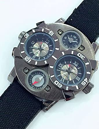 WATCH reloj estilo militar estuche negro de cuero de color caqui de pulsera de cuarzo de banda de los hombres , dark green: Amazon.es: Relojes