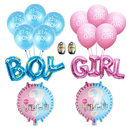16PCS Gender Reveal Balloon/boy or girl Foil Mylar Bolloons with 12