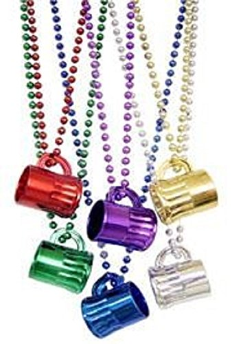 Mardi Gras, Color Beer Mugs Necklace, Beads, 7 mm, 33
