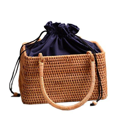 (WIEJDHJ Women Straw Bags Female Summer Beach Weave Handbag Lady Handmade Bamboo Vintage Bag Portable Retro Lining Bag Tote Yellow L22 W13 H15cm)