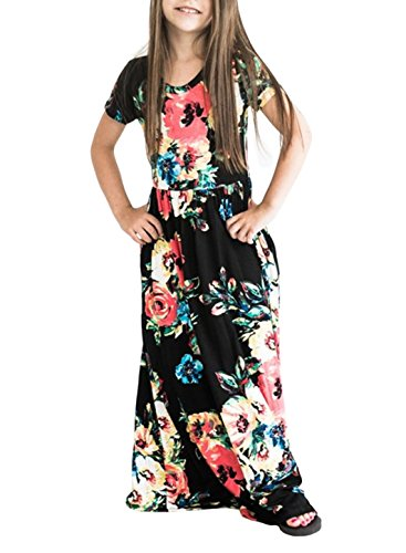 STKAT Girl's Kids Floral Printed Short Sleeve Pleated Pockets Casual Long Maxi Dress,Black,Small -