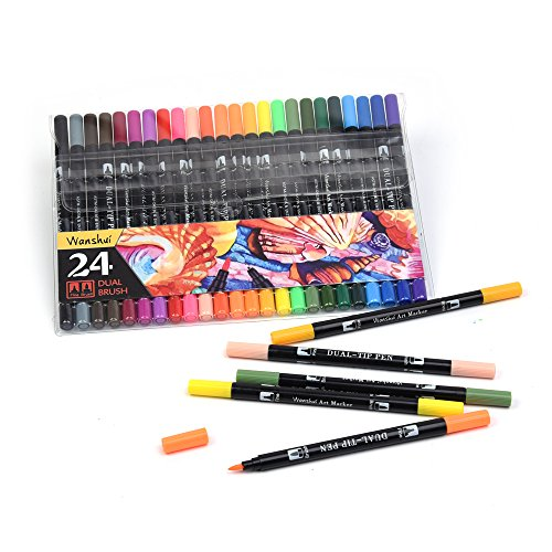 Dual Markers Pen 24 Unique Colors Fine and Brush Tip Art Marker ...