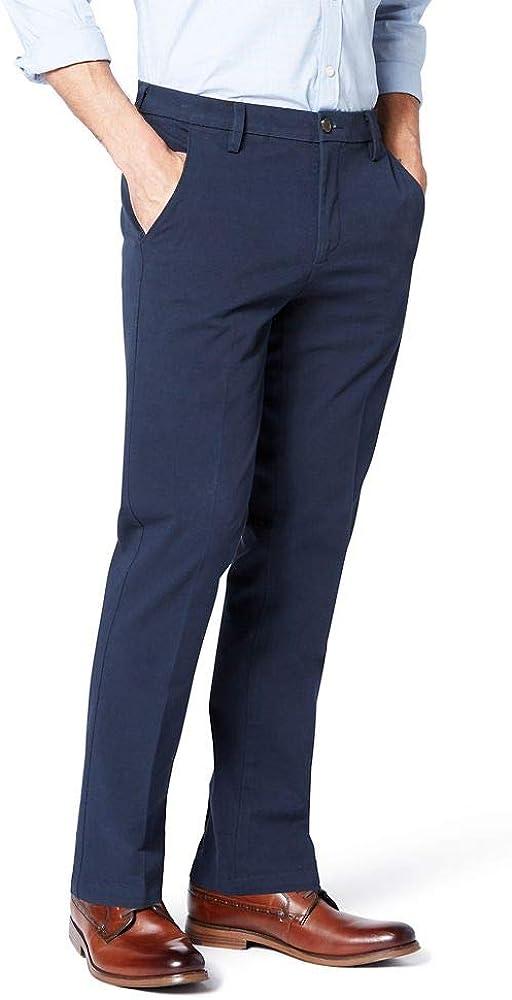 Dockers Mens Standard Slim Fit Signature Khaki Lux Cotton Stretch Pants D1 Ombre Blue