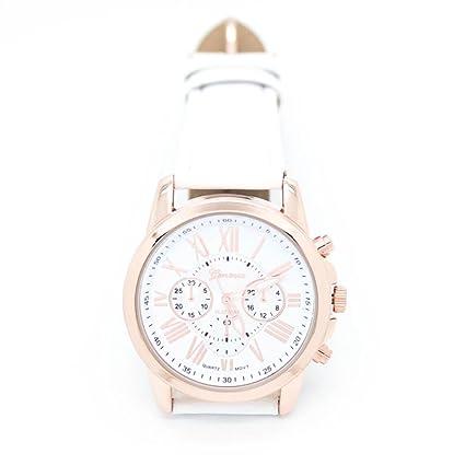 Relojes Pulsera Mujer,Xinan Imitación de Cuero Analógico Cuarzo Relojs (Blanco)