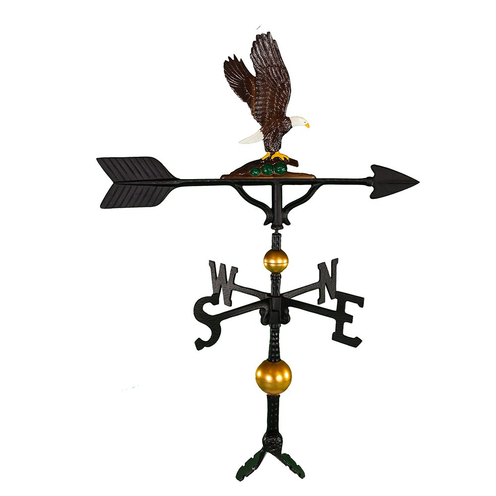 Montague Metal Products 32-Inch Deluxe Weathervane with Color Eagle Ornament WV-372-NC