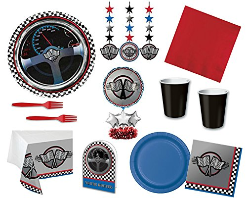 Car Racing Party Supply Bundle for 16 Guests - Includes Tableware, Centerpiece, Hanging Decorations and Invitations