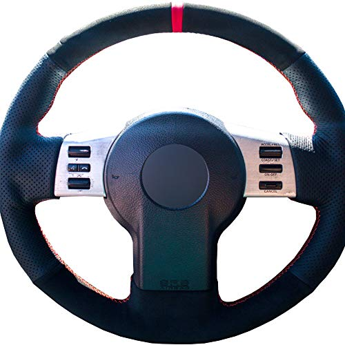 Nissan Almera Tino Black Chunky Sports Grip Steering Wheel Cover Glove 37cm