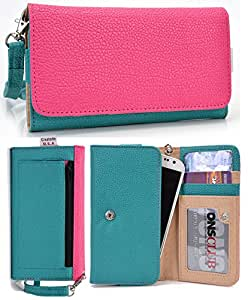 Universal PU Leather Case Cover&Wallet w/Clear ID Slot for Kyocera Hydro Life[GREEN/PINK] NuVur &153;