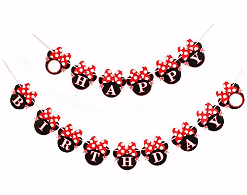 Red Minnie Happy Birthday Banner, Mini Mouse Style Party Decorations, Party Supplies, Baby Shower Decor for Girls by Kristin Paradise ()
