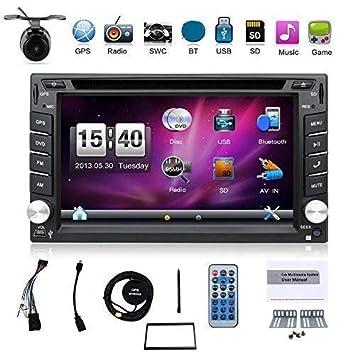 Radio para coche universal, con cámara. Sistema de navegación GPS doble din de 6,2 pulgadas, montada en salpicadero, reproductor de DVD estéreo para ...