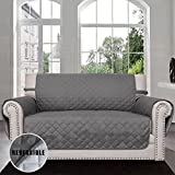 #2: Easy-Going Sofa Covers,Slipcovers,Reversible Quilted Furniture Protector,Water Resistant,Improved Couch Shield with Elastic Straps,Anti-Slip Foams,Micro Fabric Pet Cover by Loveseat,Gray/Light Gray)