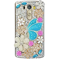 LG Stylo 2 V Case, STENES 3D Handmade Crystal Fairy Girl Flowers Floral Sparkle Rhinestone Design Cover Bling Case for LG Stylo 2 / LG Stylo 2 Plus / LG Stylo 2 V with Retro Bows Dust Plug - Blue