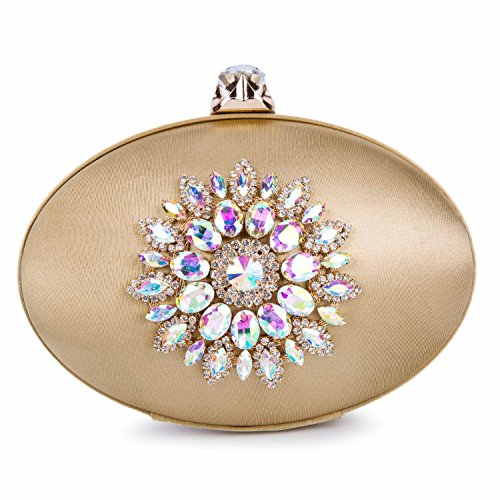 Baglamor Womens Rhinestone Evening Clutch Purse (Gold) by Baglamor