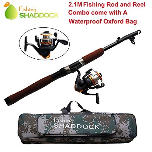 Easy Catch 2.1m Portable Lightweight Telescope Fishing Rod and High Speed Spinning Reel Combos Set - Adjustable Fishing Rod & Reel (Pen Telescope Fishing Pole Combo)